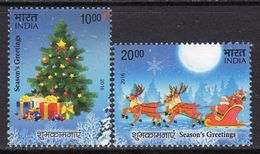 India 2016 Christmas Set Of 2, MNH, SG 3207/8 (E) - India