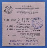 Biglietto Lotteria Beneficenza Pro Ass. Naz. Invalidi Poliomielite - 1970 - Lottery Tickets