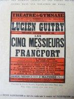 LES CINQ MESSIEURS DE FRANCFORT, De Charles Rœszler ,dont Portrait (LA PTE ILLUSTRATION 1914) Publicité: LA FANDORINE - Theatre