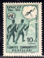 TURCHIA TURKÍA TURKEY 1961 UNICEF ANTI-MALARIA WORK 10k +5k MNH - 1921-... Republic