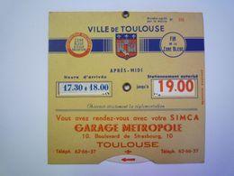 2020 - 6063  TOULOUSE  :  Ancien DISQUE De STATIONNEMENT  (GARAGE METROPOLE)  XXX - Vieux Papiers