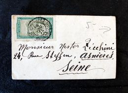 Enveloppe 6x10cm 5c Diégo Suarez 1915 Pour Asnières/Seine Par Paquebot IMERINA - Madagascar (1889-1960)