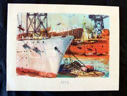 Voeux 1953 De La Compagnie Des Messageries Maritimes Litho De (Roger Chapalet ) - Publicités