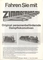 Catalogue ZIMMERMANN 1980s Original Personenbefördernde Dampflokomotiven - Allemand