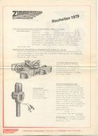 Catalogue ZIMMERMANN Maschinenbau Neuheiten 1979 Spur 5'' - Allemand