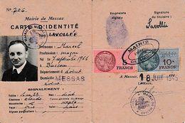 18 Juin 1945 - MESSAS (45) CARTE D'IDENTITE De Marcel LAVOLLEE Né à BACCOU - Documents Historiques