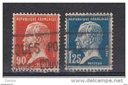 FRANCE:  1923/26  PASTEUR  -  2  VAL. OBL. -  YV/TELL. 178 + 180 - 1922-26 Pasteur