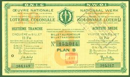 """BELGIEN Belgie Belgique """" Loterie Coloniale / Koloniale Loterij """" 8.snede/tranche 1934-36 E - Billetes De Lotería"""