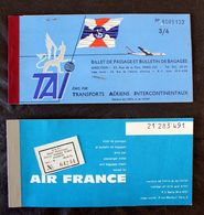 Billets Avion Air France Et TAI Tananarive Paris,et Istanbul Paris Chauvicourt 1962 - Vliegtickets