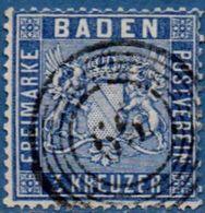 Baden Germany 1860 3 Kr Prussian Blue Postmark Stempel 66 (Jestetten) - 2006.2239 Perf. 13½ - Baden