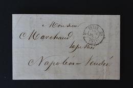 1854,PARIS CAD PORT DÛ 25C DU 16 JANV 1854 POUR NAPOLEON VENDEE CAD AMB PARIS A NANTES CAD ARRIVEE DU 17/01/1854 - 1849-1876: Classic Period