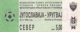 Ticket Yugoslavia Vs Uruguay 1995. National Team Football Match - Tickets D'entrée