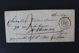 1848,LAC LYON CAD DU 18 MARS 1848 POUR ST ETIENNE CAD ARRIVEE DU 19/03/1848 TAXE MANUSCRITE.. - 1801-1848: Precursores XIX