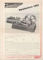 Catalogue ZIMMERMANN Neuheiten 1981 5'' Spur Diesellokomotive V 36 - Allemand