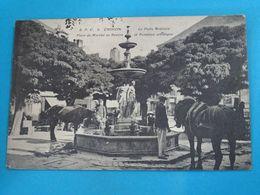 37 ) Chinon - Le Puits Artésien - Place Du Marché Au Beurre Et Fontaine Artistique - Année 1916 - EDIT - E.P.C - Chinon