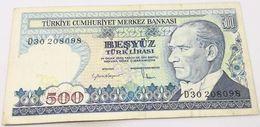 Billete Turquía. 500 Liras. 1984. Original. Muy Buena Conservación - Turchia