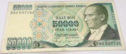Billete Turquía. 50000 Liras. 1989. Original. Muy Buena Conservación - Turchia