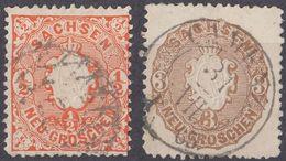 SACHSEN - SASSONIA - 1863/1867 - Lotto Composto Da Due Valori Usati: Yvert 14 Di Seconda Scelta E 17a. - Sachsen