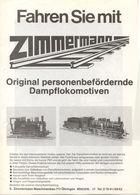 Catalogue ZIMMERMANN 1980 Original Personenbefördernde Dampflokomotiven Live Steam + Preisliste 1978 DM - Allemand