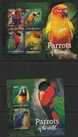 Antigua Et Barbuda - N°4394/7+Bloc N°714 ** (2014) Perroquets - Antigua Und Barbuda (1981-...)