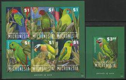 MICRONESIE - N°2089/94+Bloc N°242 ** (2014) Perroquets - Micronesia