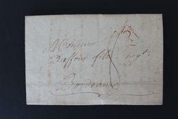 1810,LAC PARIS MARQUE P DANS UNTRIANGLE ROUGE OUVERT DATEE DU 2 JUIN 1810 POUR BORDEAUX TAXE MANUSCRITE .. - Marcophilie (Lettres)