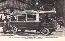 75 PARIS Moyens Transport Omnibus Automobile CLICHY-ODEON En Gros 1er Plan - Jolie CPA N° 2150 Collection Art ES Paris - Transport Urbain En Surface