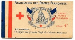 RC 17955 FRANCE CARNET VIGNETTES CROIX ROUGE ASSOCIATION DES DAMES FRANÇAISES NEUF ** B/TB - Commemorative Labels