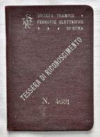 """1923 TESSERA DI RICONOSCIMENTO """"SOCIETA' TRAMVIE FERROVIE ELETTRICHE DI ROMA"""" - Week-en Maandabonnementen"""