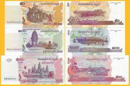 Cambodia Set 50, 100, 500 Riels 2001-2004 UNC Banknotes - Cambodia