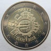 MA20012.3 - MALTE - 2 Euros Commémo. Colorisée 10 Ans De L'euro - 2012 - Malta