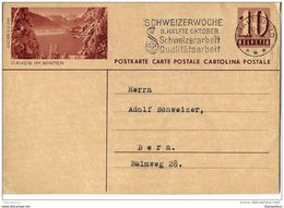 "24 -  80 - Entier Postal  Avec Illustration ""DAvos Im Winter"" Oblit Mécanique 1943 - Postwaardestukken"