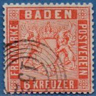 Baden Germany 1860 6 Kr Orange Postmark Stempel 152 (Waldkirch) - 2006.2241 Perf. 13½ - Baden