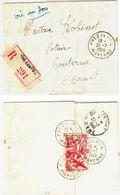 PREZ En PAIL Mayenne Lettre Recommandée 50 F Poste Aérienne Iris Yv PA 17 Ob 26 7 1949 Dest Caterne - 1927-1959 Brieven & Documenten