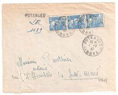 PUTANGES Orne Lettre Recommandée  Marque Provisoire Tampon 4,50 F Gandon Yv 718A Exp Bazoches Ob 1 7 1947 - France