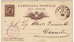 CARTOLINA POSTALE - DIECI CENTESIMI - TIMBRO CANNERO - NOVARA - 1888 - VERBANIA - Briefmarken (Abbildungen)