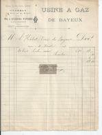BAYEUX  USINE A GAZ  ENVOYEE A L'HOTEL DIEU DE BAYEUX  1902 - France