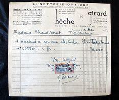 Facture Hêche Et Girard Pour Mme Chauvicourt à Tananarive Madagascar 1955 Timbre Surchargé - France