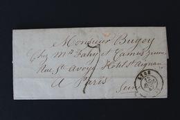 1847 , LAC LYON CAD DU 12/04/47 POUR PARIS CAD BLEU D'ARRIVEE 14/04/47 TTAXE MANUSCRITE - 1801-1848: Vorläufer XIX