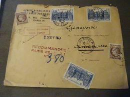 PARIS 1947 En Recommandée En Valeur Déclarée 1000 Francs Pour ANNEMASSE - France