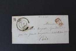1841 , LAC LYON CAD DU 17/05/41 POUR PARIS CAD BLEU D'ARRIVEE 19/05/41 MARQUE ROUGE DU PP TAXE MANUSCRITE VERSO - 1801-1848: Vorläufer XIX