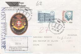 St.Posta 1593 - REPUBBLICA 1998 - Lettera Assicurata, Con Affrancatura Per L.1800 In Tariffa Ridotta - 1991-00: Storia Postale