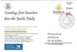 Belgium Belgie 2019 Roeselare Maselis Mais Corn Sun Holidays Isolation Corona Virus Period Handstamp Viewcard - Personalisierte Briefmarken