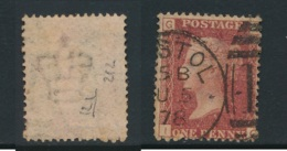 GB, 1864 Penny Red SG43, Plate 212 ,undamaged And Fine, Cat GBP 13 - Used Stamps