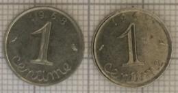 Lot De 2 Pièces De 1 Centimes,  1967, 1968. France. - France