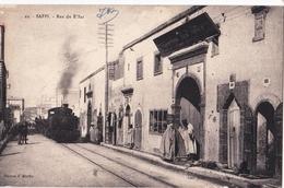 Post Card> Saffi  Safi (Maroc) Rue De R'bat  Train Locomotive  Très Rare  Ed J Martin  TBE NO PAYPAL - Sonstige