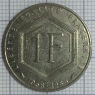 1 Franc, France, 1988 .Charles De Gaulle - République Française. TB - H. 1 Franco