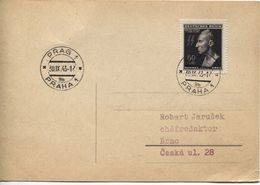 Böhmen & Mähren # 131 Einzelfrankatur Postkarte Prag 30.9.43, Reinhard Heydrich - Storia Postale