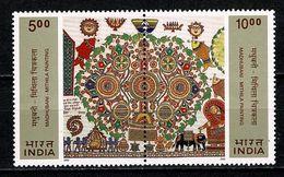 India 2000  Yv  1555/56**, SG 1958/59**, Madhubani -  Mithila Paintings  MNH - Unused Stamps