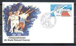 FDC Premier Jour Cinquantenaire Du Stade Roland Garros PARIS Timbre Roland GARROS Y&T 2012 - (1) - Tennis